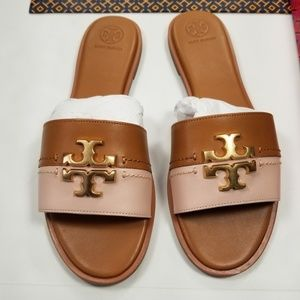 Tory Burch Everly Slides Sz 10 Tan Seashell Pink